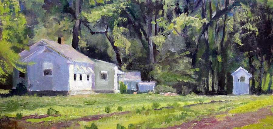 House & Garden, 8 x16, oil on linen Ed Cahill