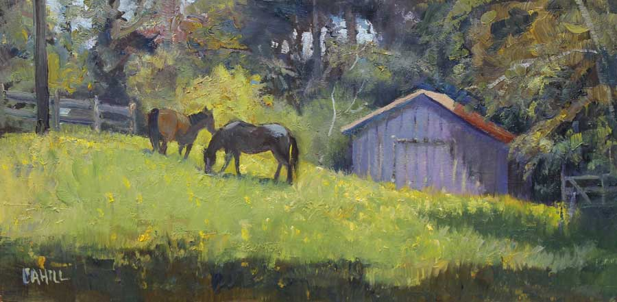 Spring Pastures Ed Cahill painting horse barn